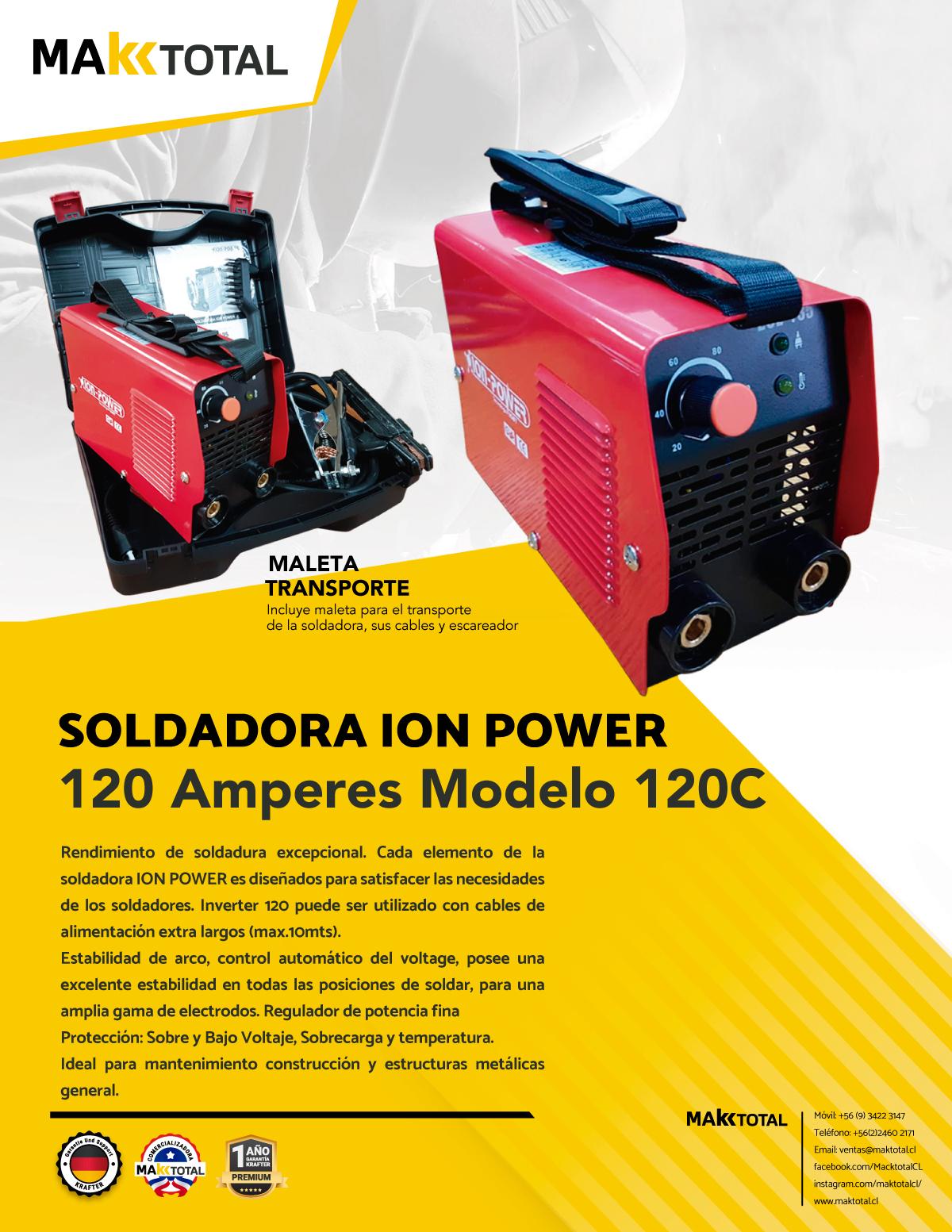 Soldadora 120 amperes ion power