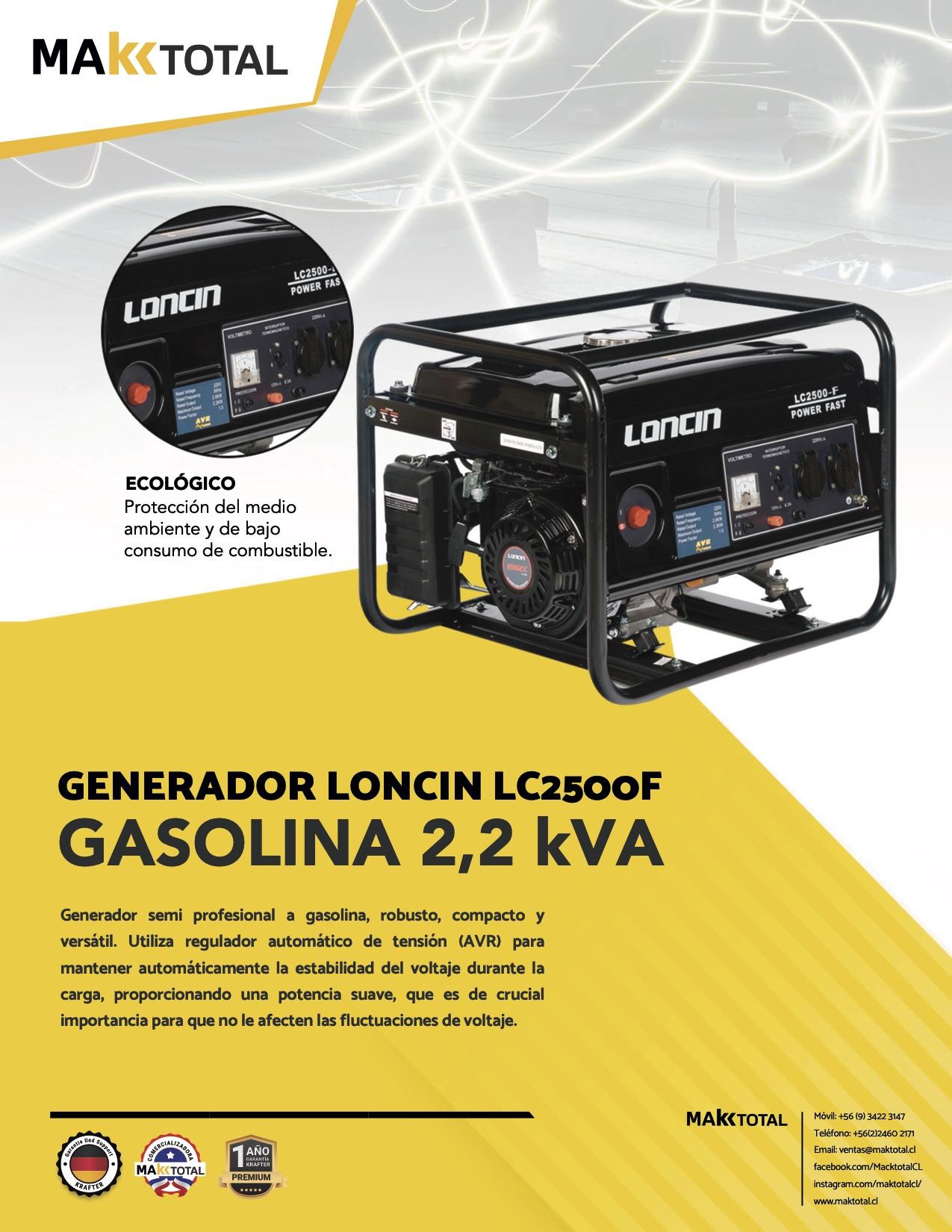 Generador Gasolina 2,2 KVA Loncin