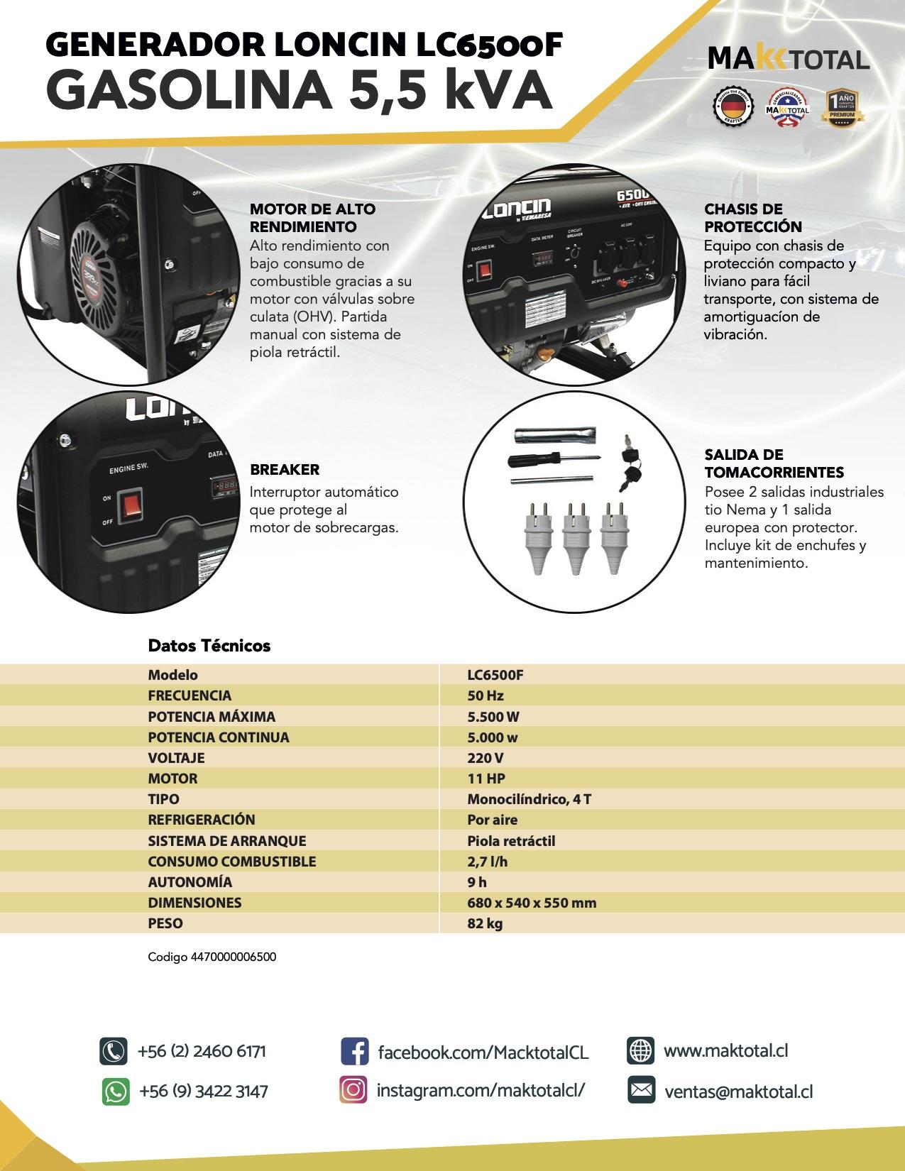 Generador Gasolina 5,5 KVA P Manual
