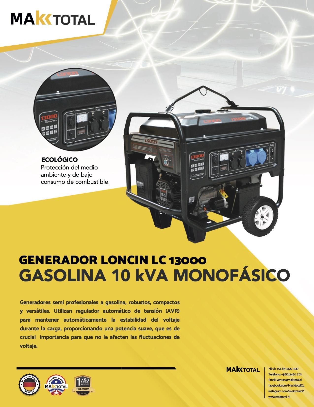 Generador Gasolina 10 KVA Monofásico